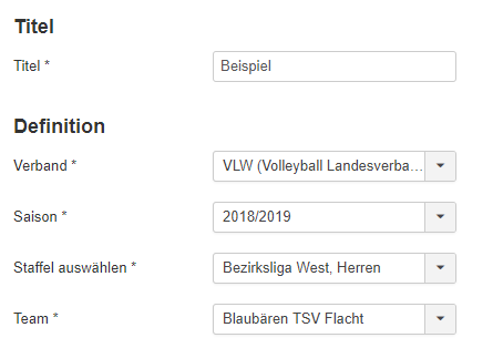 volleyImport Staffelauswahl